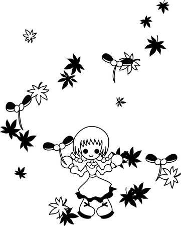 flutter: To wind the seeds of maple flutter down. Illustration