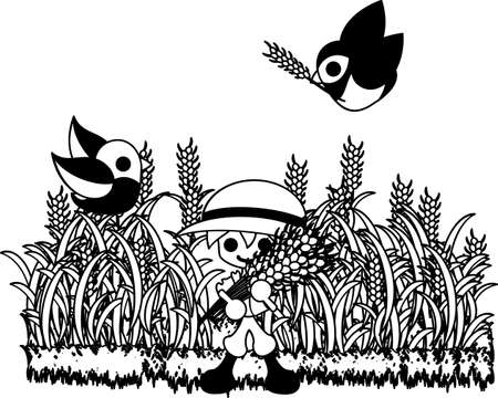 able: The farmer who was able to harvest many cereals. Illustration