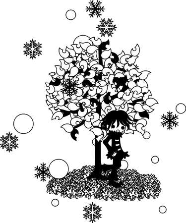 fiambres: Un día que nieva, un hombre lleva una bata está parado debajo del árbol.
