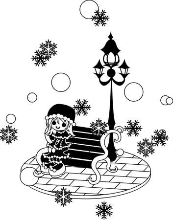 snows: A girl is sitting on the bench and looking at snow in the town where it snows.