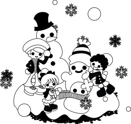 individual: Making individual snowmen with family each. Illustration