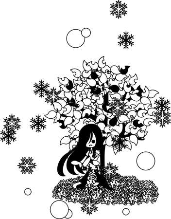 plant stand: A snowing day, a woman of long hair is standing still under the tree.
