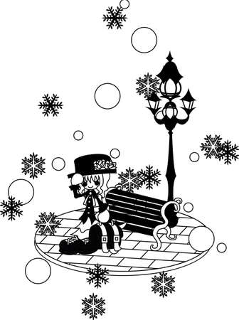 snows: A woman is on the trip in the town where it snows. Illustration