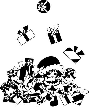 distribute: There are so many Christmas presents. We do our best and must distribute them. Illustration