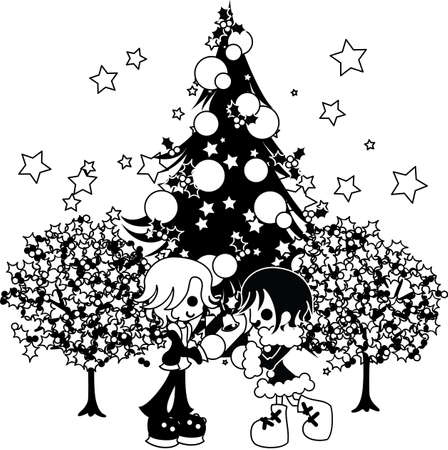 tree line: The man and woman who exchange a present with each other under the big Christmas tree.