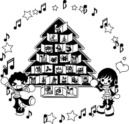 子供たちのクリスマスのアドベント カレンダーを見ながらイライラして待ちます。