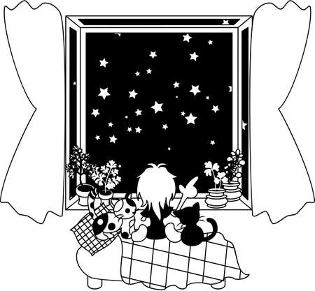 stars sky: A woman who is sitting down near a window, and looking at the starlit sky of the perfect score with cats. Illustration