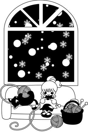 snows: Winter one day when it snows, a woman is knitting and a black cat is frisking with woolen yarn.