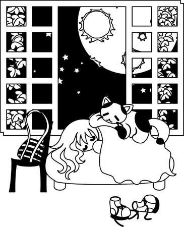 満月の夜に、ベッドと大きな猫で寝ている女性は彼女に乗っています。  イラスト・ベクター素材