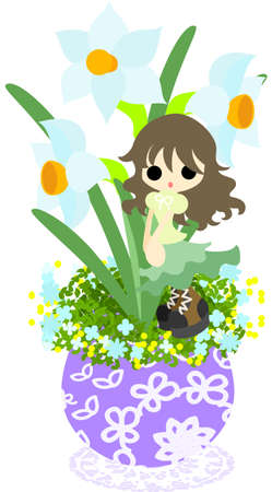 flowerpot: A cute little girl who is standing still on the flowerpot of narcissus