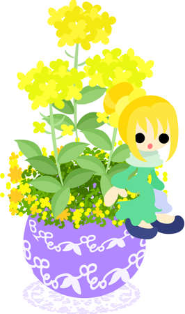 flowerpot: A cute little girl who is sitting on the flowerpot of colza