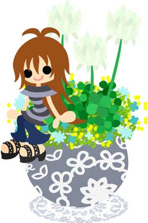 flowerpot: A cute little girl who is sitting on the flowerpot of white clover