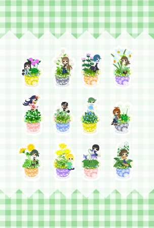 flowerpots: Cute little girls who are standing still on the flowerpots of flowers. Illustration