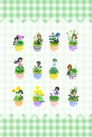 kleine meisjes: Schattige kleine meisjes die staan nog steeds op de bloempotten van bloemen.