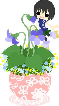 flowerpot: A cute little girl who is standing still on the flowerpot of violet Illustration