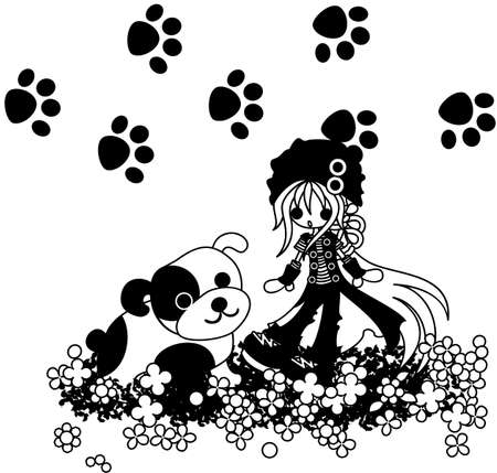 big dog: A girl putting on a black hat is with a big dog on a beautiful flower garden. Illustration