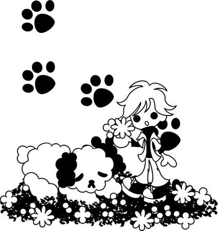 picking up: A sleeping dog and a blond woman picking up a bouquet. Illustration
