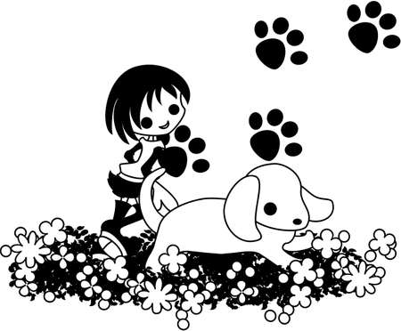 cut short: A girl is running at a flower garden with a dog. Illustration