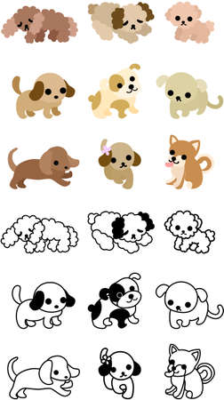 cute dogs: Cute icons of various dogs