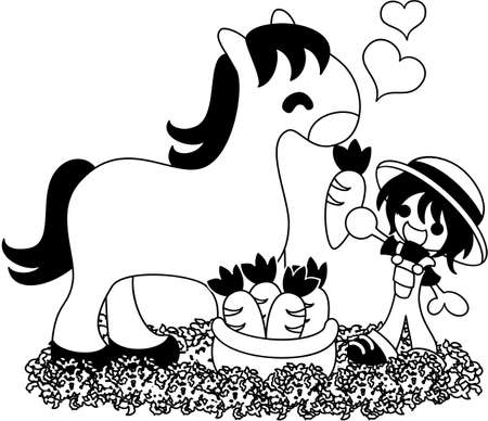 pleased: A boy gives a carrot to a horse, and a horse is pleased. Illustration