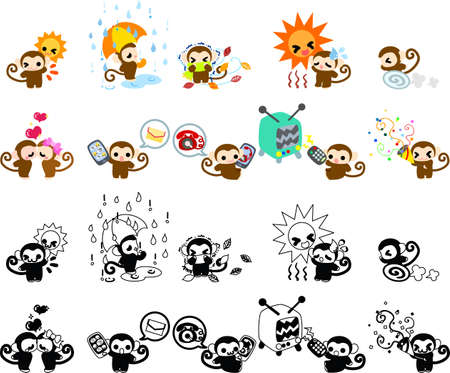 fiambres: Iconos de monos lindos
