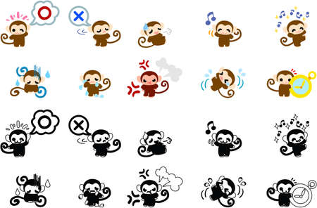 parting: Icons of cute monkeys
