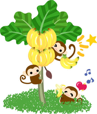 The pretty monkeys which the up harvests to a banana tree