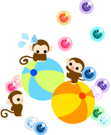 Monkeys having a dancer on the balls, and juggling with balls