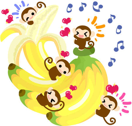 delight: The monkeys which are delight to a giant banana