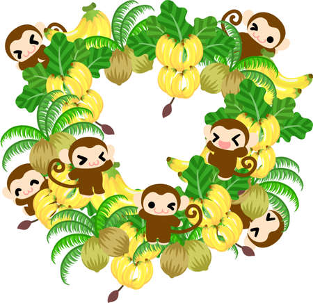 palm wreath: Pretty monkeys and the wreath of many bananas and coconuts