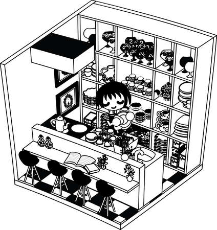 monotone: The kitchen which is based on a monotone. There is collection of much tableware on the shelf.