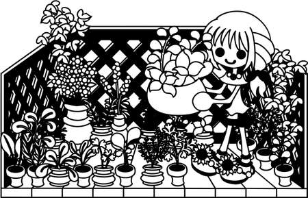flowerpots: The balcony where has a lot of flowerpots of herbs. What kind of herb dish shall I cook today Illustration