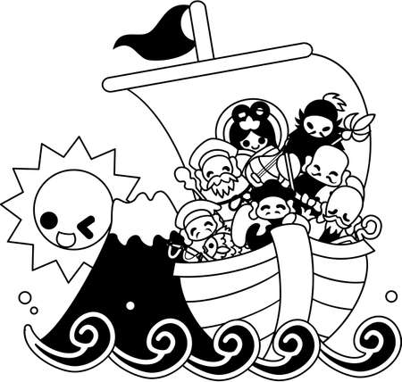 At the daybreak of new age, the Seven Deities of Good Luck came over on the big Treasure Ship.