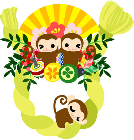 luxurious: Pretty monkeys and luxurious New year wreath