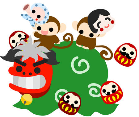 lion dance: Pretty monkeys with mask on the lion dance