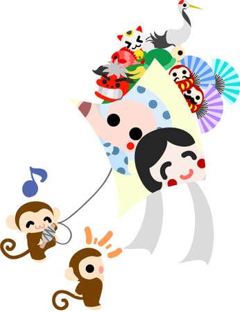 かなり大きな凧を上げる猿します。