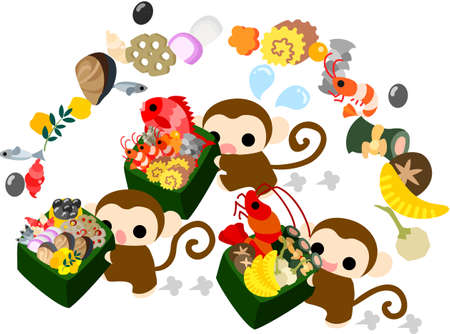 luxurious: Pretty monkeys carrying luxurious New Year dishes Illustration