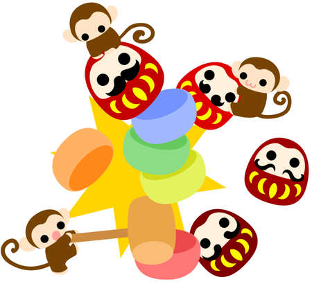 tumbling: Pretty monkeys which are playing tumbling doll shooting