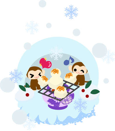 igloo: Pretty monkeys eating baked rice cake in the igloo Illustration