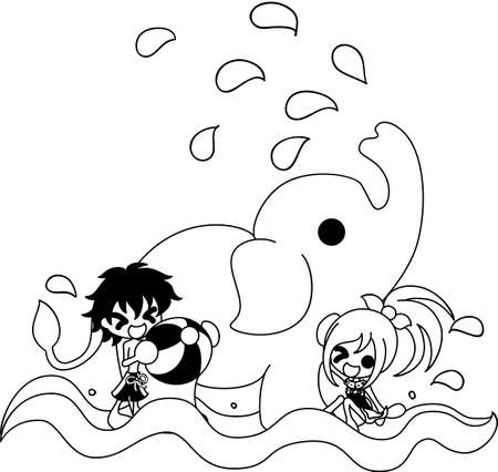 little girl bath: The boy and girl who swims in the river with an elephant. Illustration