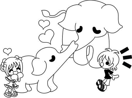 The heartwarming scene where parent and child of the elephant kiss.