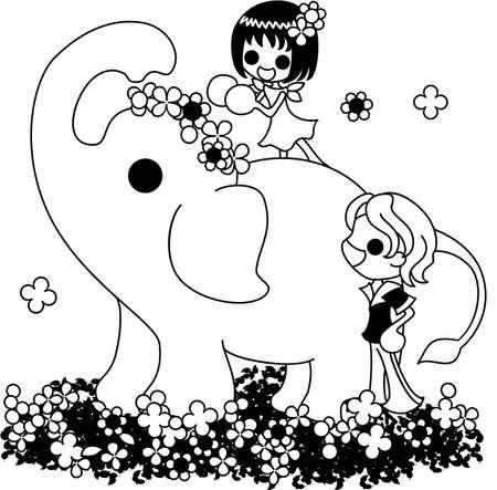 corolla: An elephant walking on the flower garden, and a girl giving a corolla.