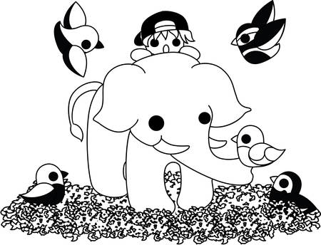 to gather: Around an elephant, colorful small birds gather.