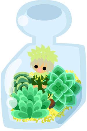 Mini garden and cute little people in the mini bottle. Illustration