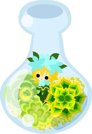 midget: Mini garden and cute little people in the mini bottle. Illustration