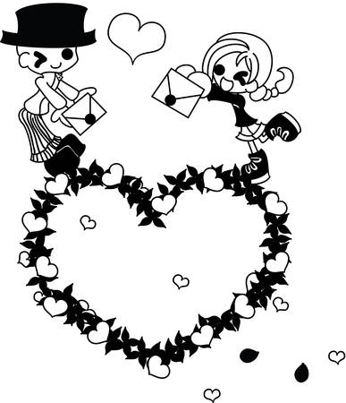 to confess love: A girl and her father who change a letter each other on a wreath of the heart.