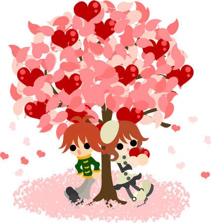 under heart: Man and woman stands still under the mysterious tree that bears heart fruits. Illustration