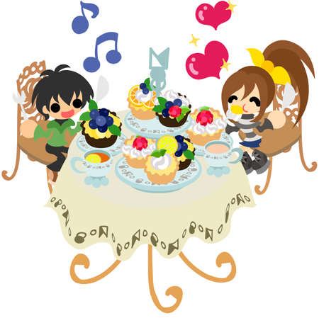 tart: The couple who are eating many delicious tart. Illustration