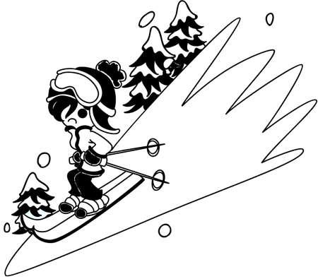 slips: The woman who slips on the ski like a brick. Illustration