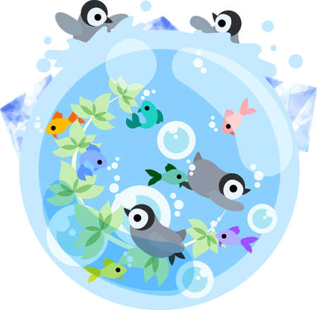 baby swim: The baby penguins are playing in the water in the sea which colorful fishes swim.